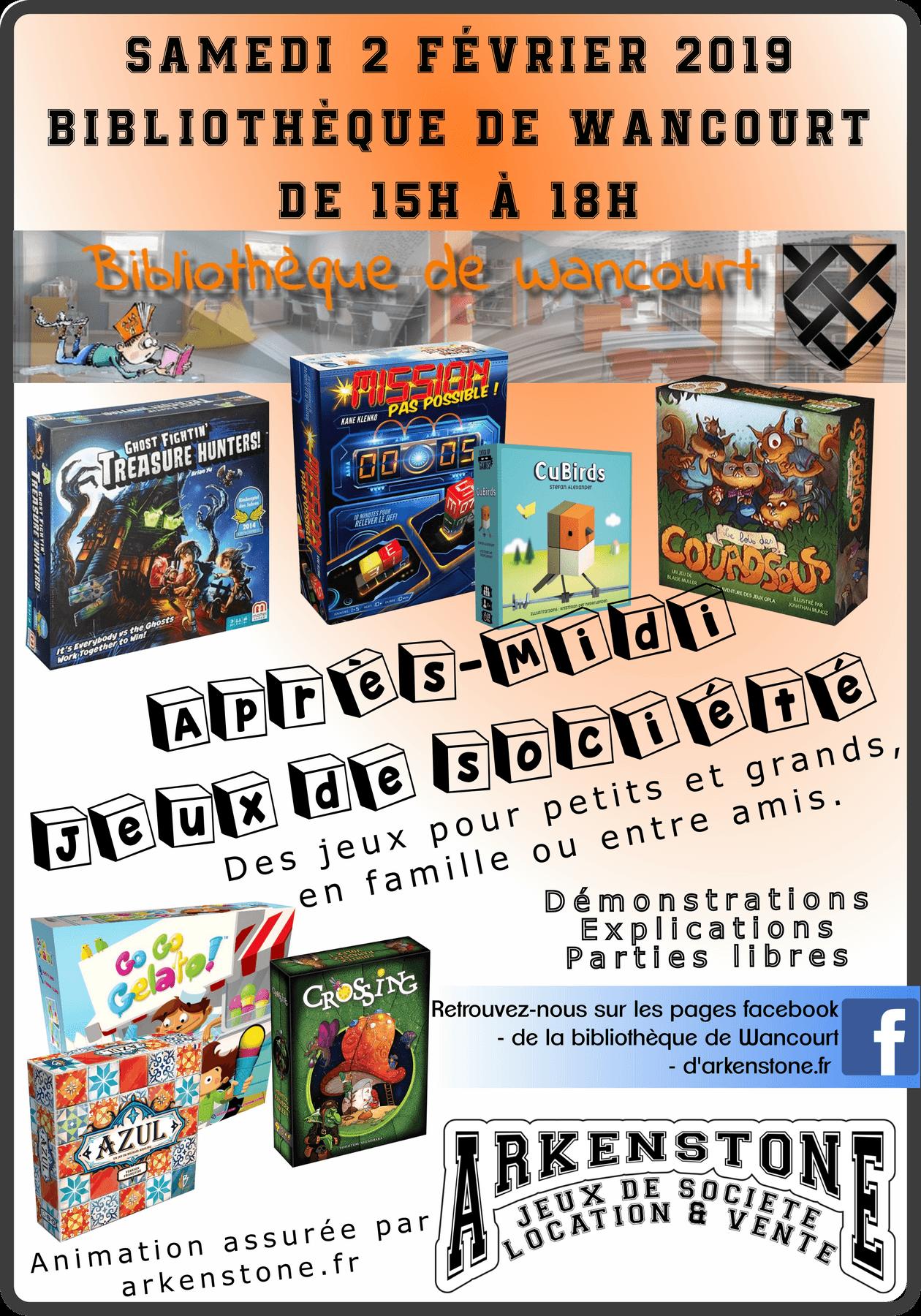 Affiche animation jeux de société à la bibliothèque de Wancourt